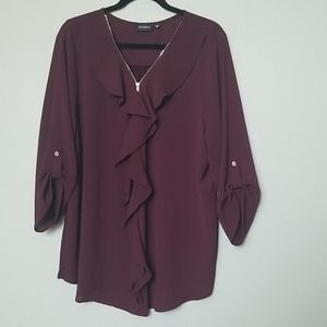 Tempted ruffle and zip front blouse 3X